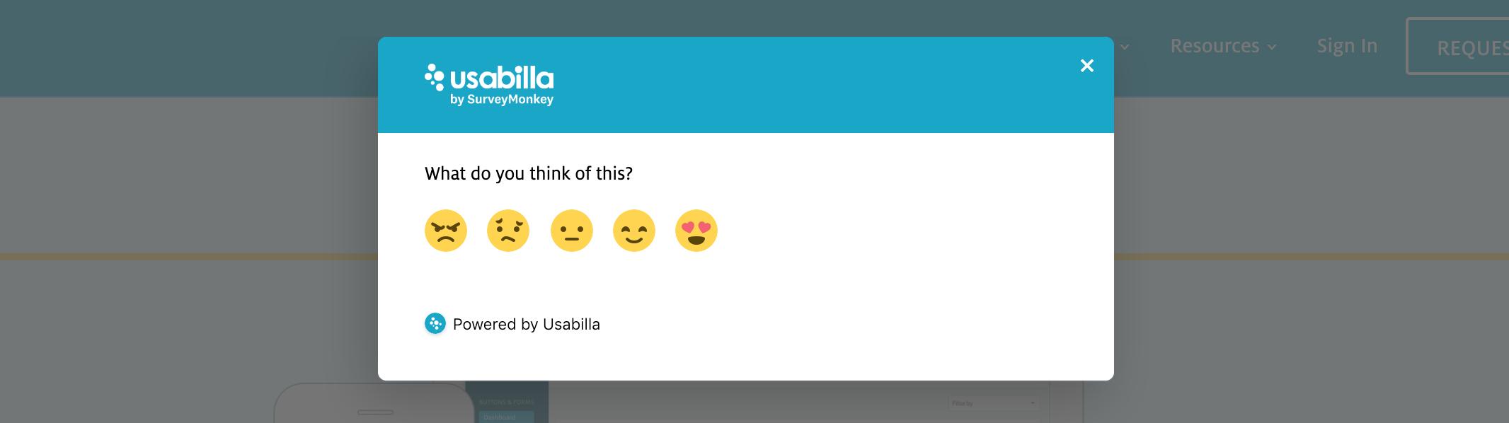 Usabilla feedback button