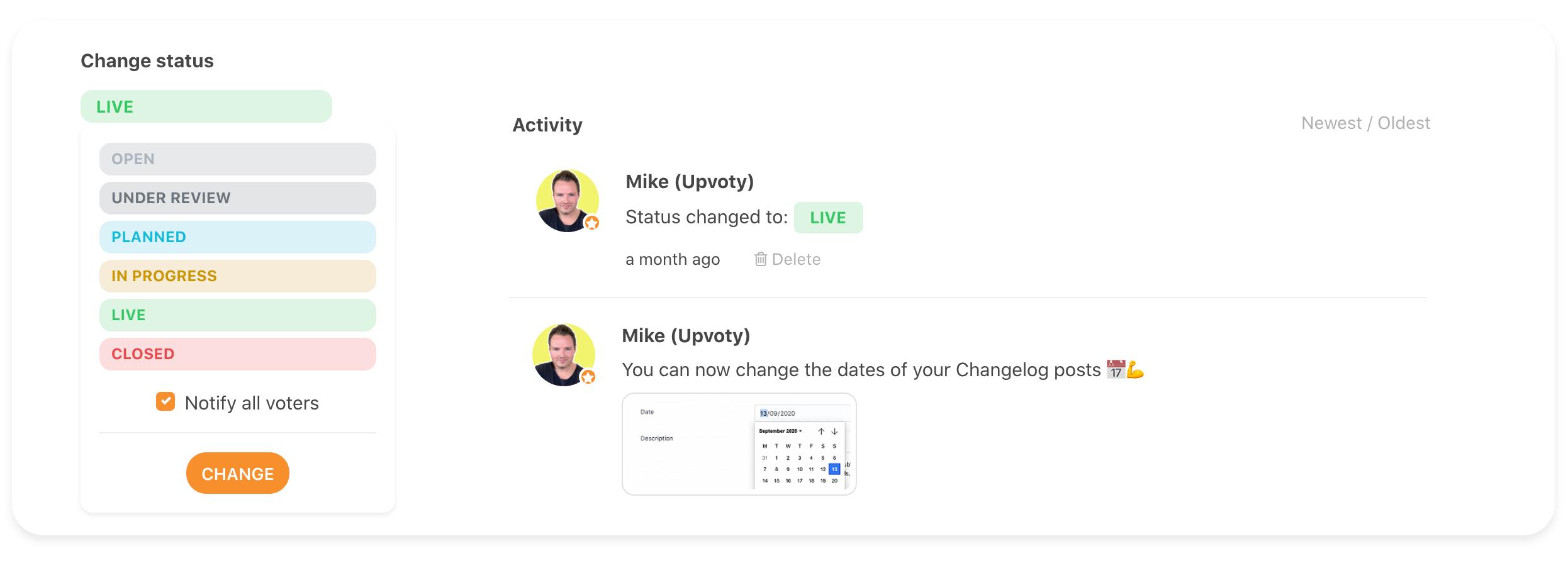 feature status updates