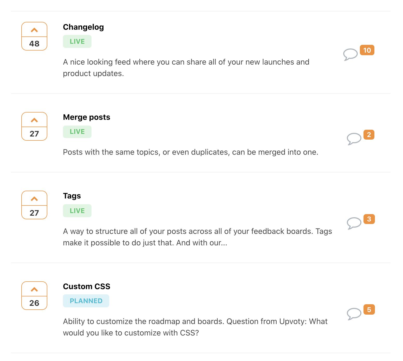 prioritze feedback posts