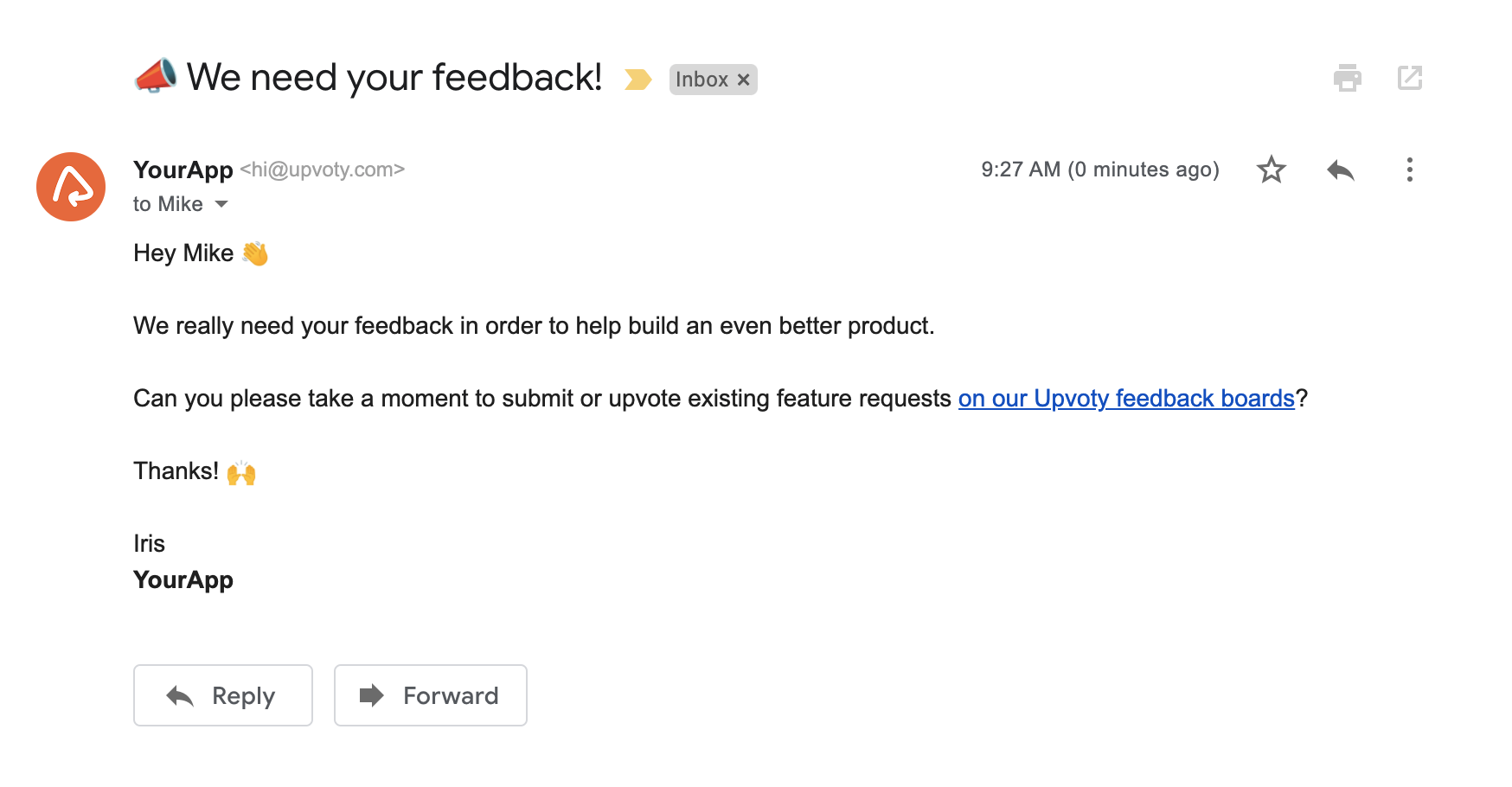 Feedback email subject