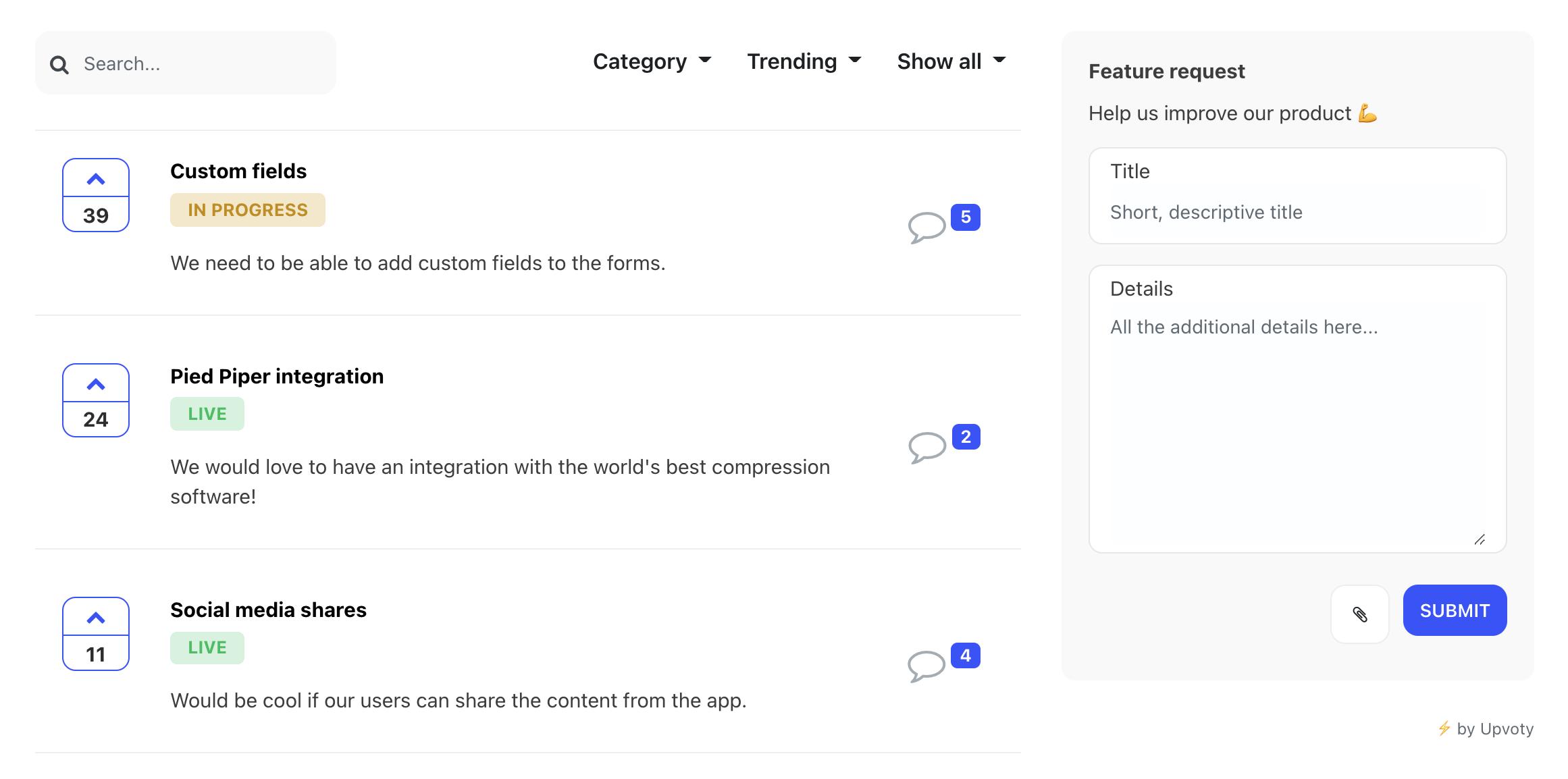 Upvoty feedback software